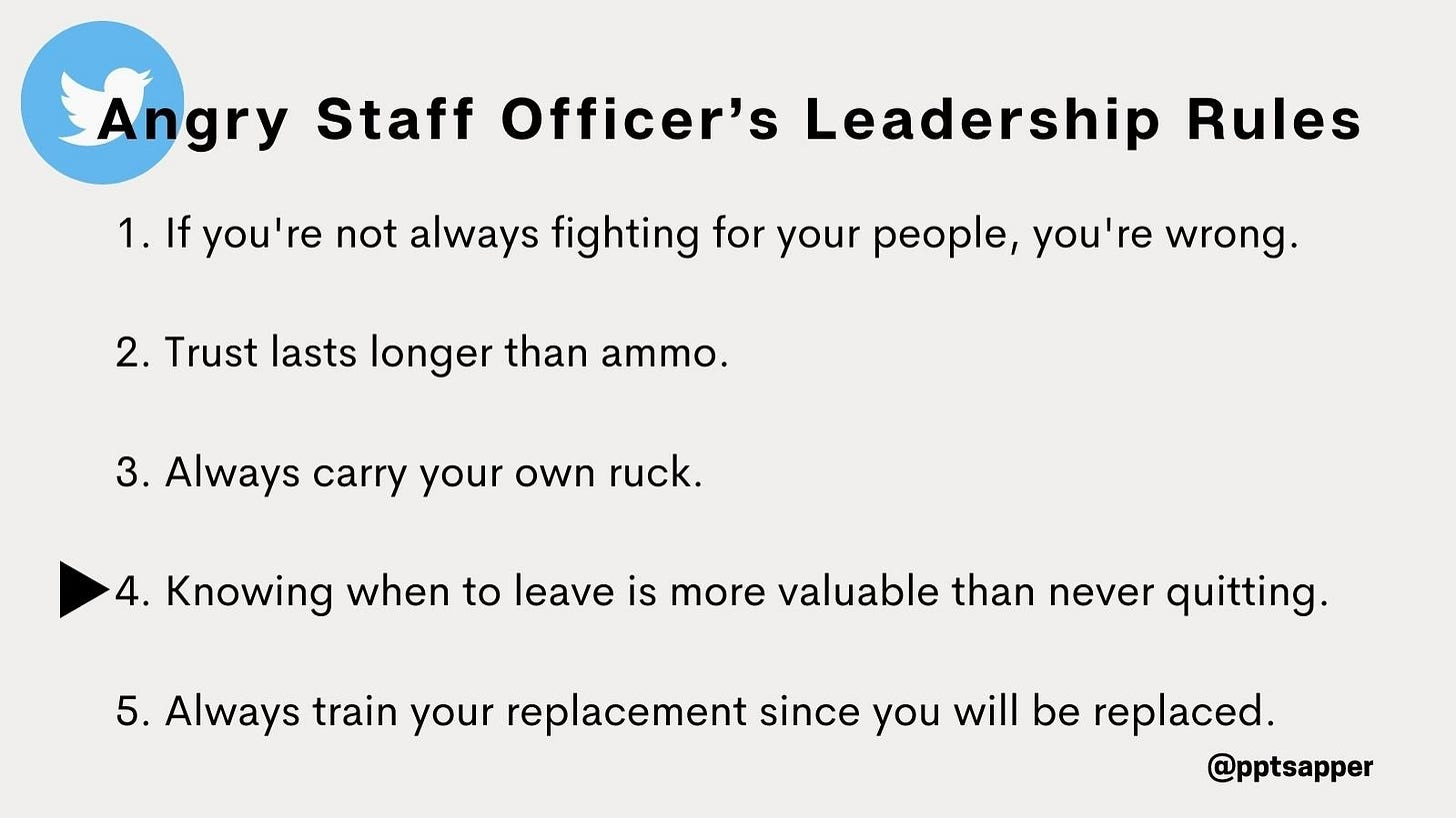 Angry Staff Officer's five rules for army officers