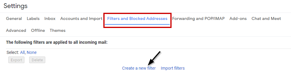 Filters and Blocked addresses option in Gmail