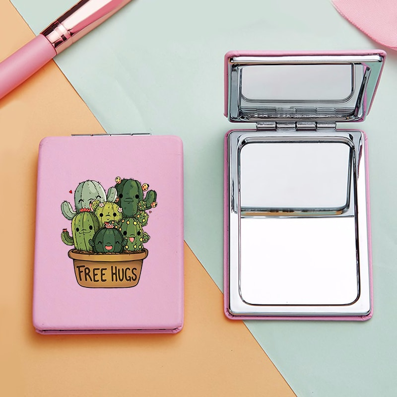 Cute Cartoon Cactus Mini Makeup Mirrors with 2 Face Funny Magnifying Cosmetic Pocket Compact Vanity Mirror Facial Care Tools