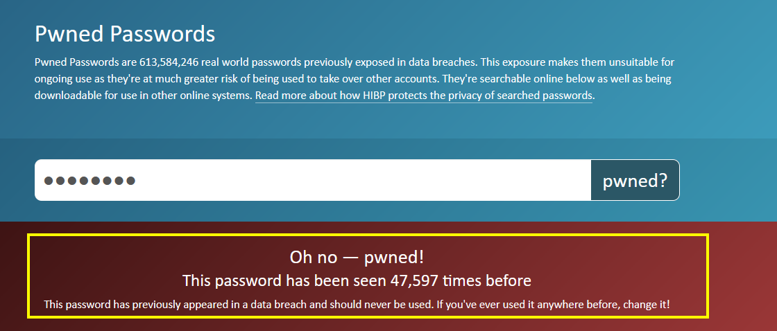 Pwned password/Breached password