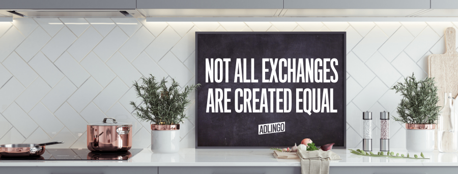 Not all exchanges are created equal. Written on a chalkboard in a white, modern kitchen.