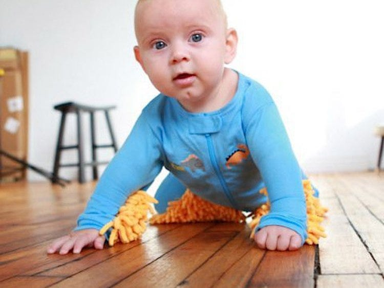 Make your child earn its keep with the baby mop,