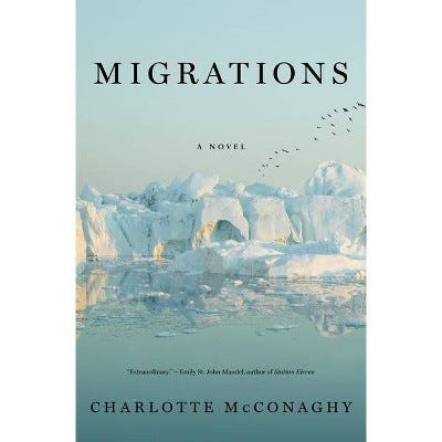 The cover is a photo of an ice shelf. the ice shelf is in the center of the book, above it is sky, below it is water, reflecting the ice and sky. The title is in a simple serif font, set in the middle of the sky.