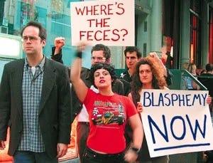 "Protestors of ""Jesus Rising"" painting"