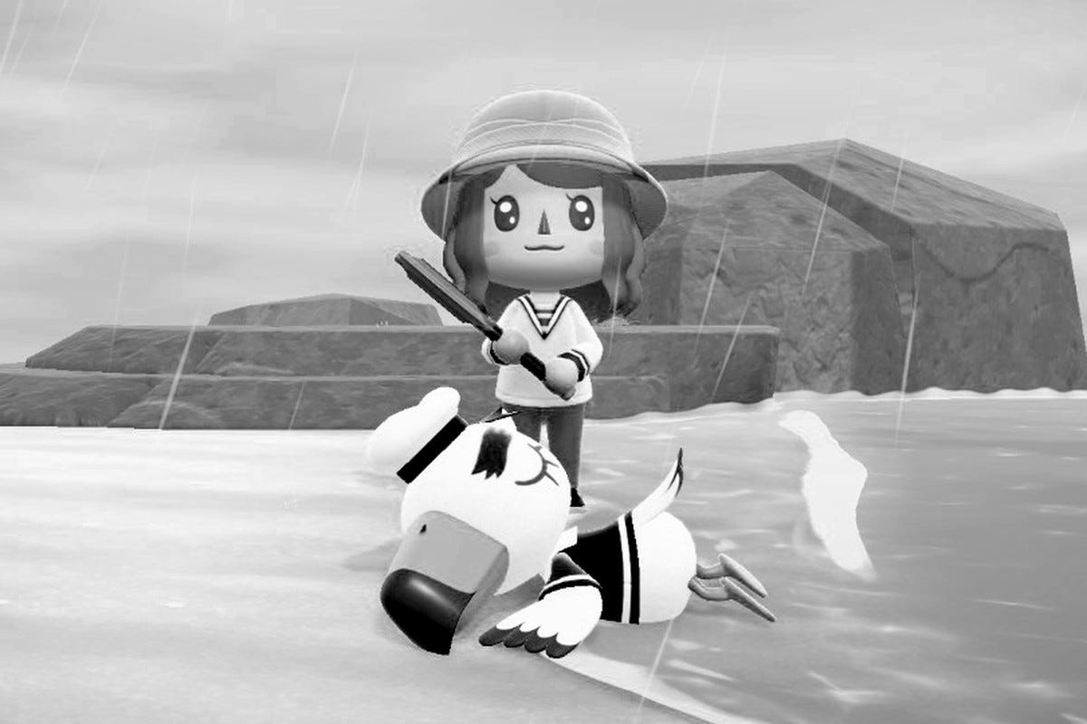 A villager stands over Gulliver, wielding an axe.