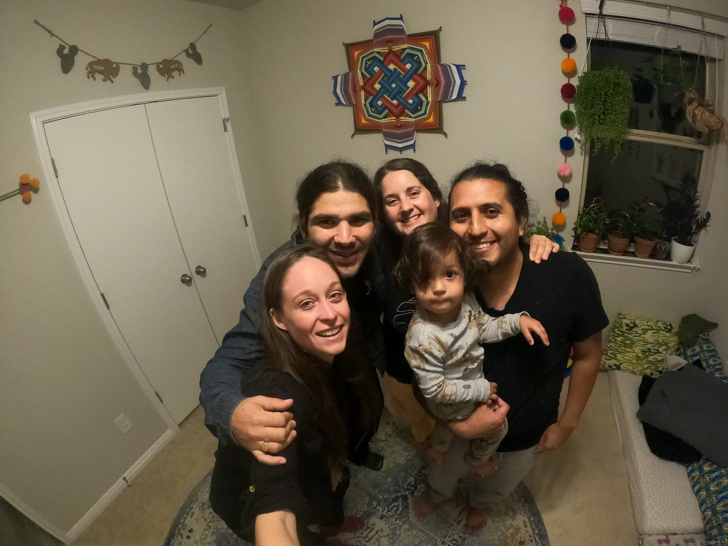 Kelly, Anthony, Raychal, Antonio, and Juaquin all selfie in the bedroom