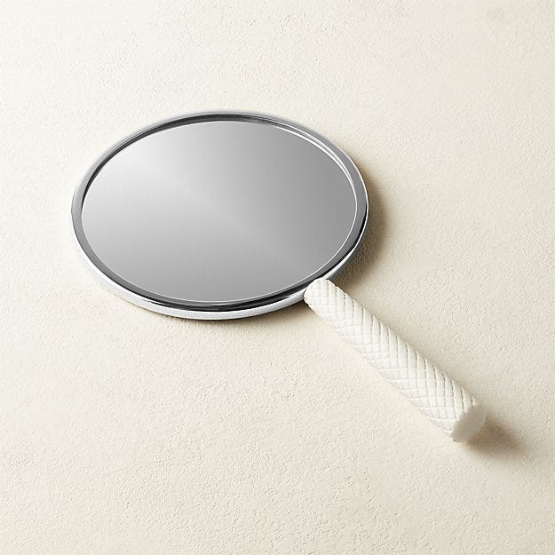 White Marble Hand Mirror - Image 1 of 2