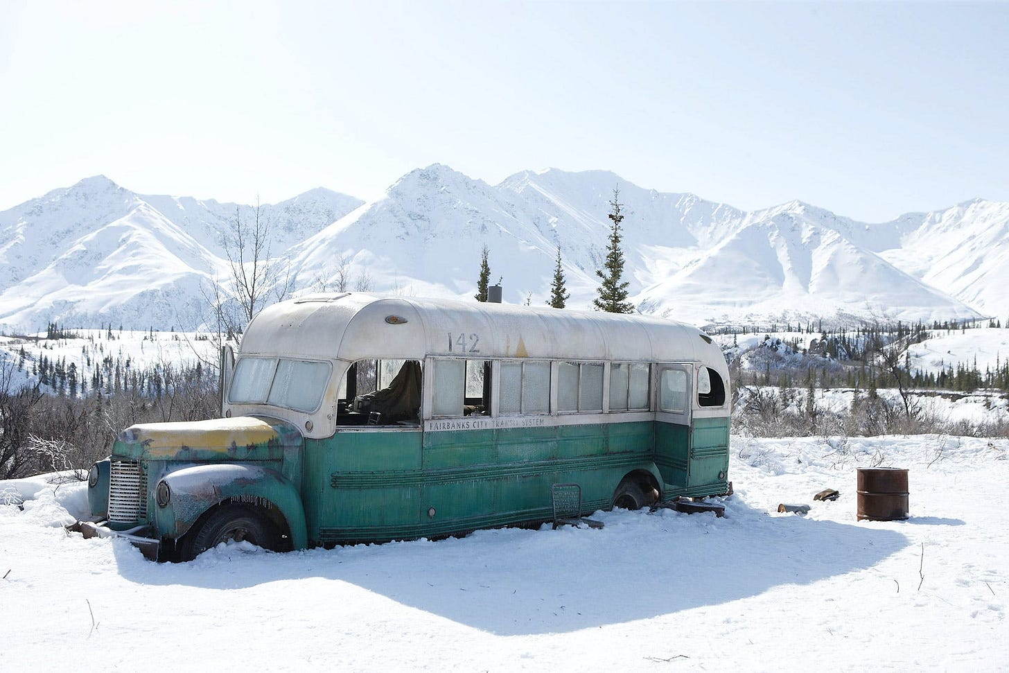 Abandoned bus in the snowy mountain