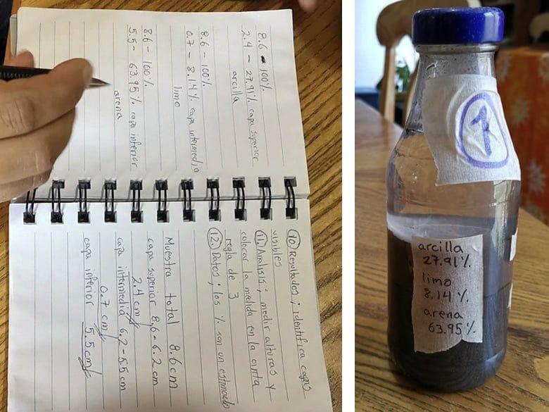 Datos obtenidos de prueba de sedimentación