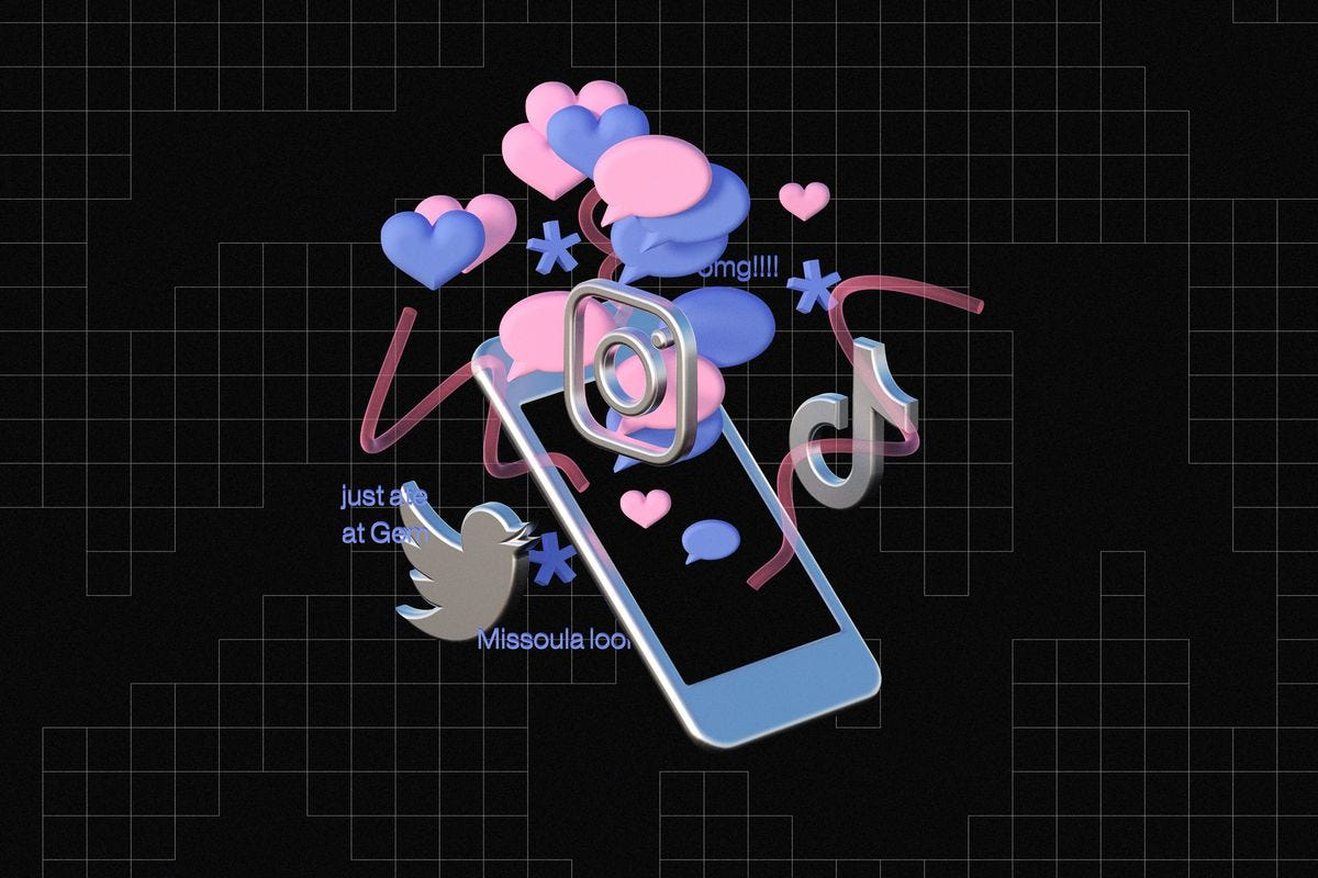 An illustration of a phone with the Tiktok logo, the Instagram logo, and heart and speech bubble icons floating out of it.