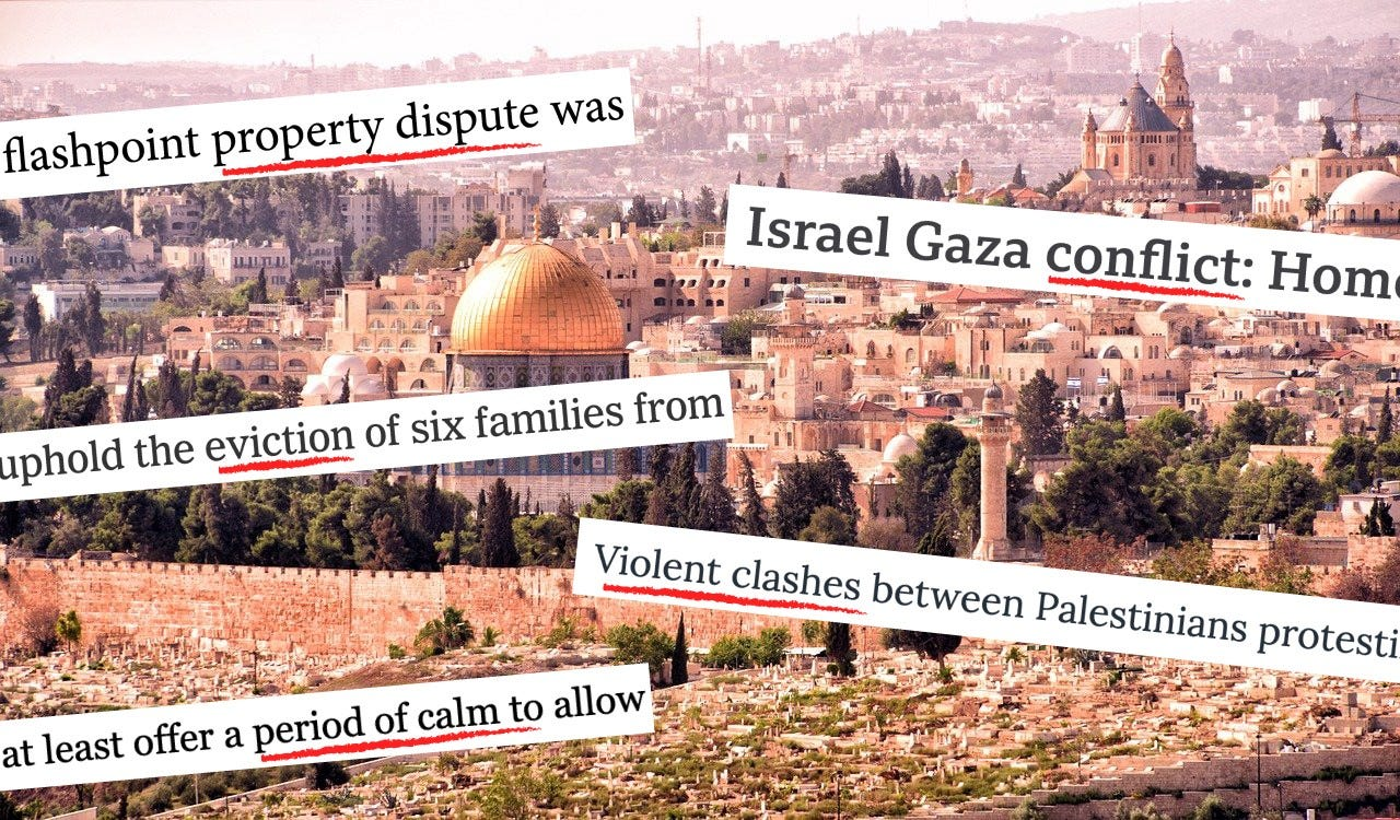 The graphic used by an open letter challenging U.S. media coverage of Palestine.