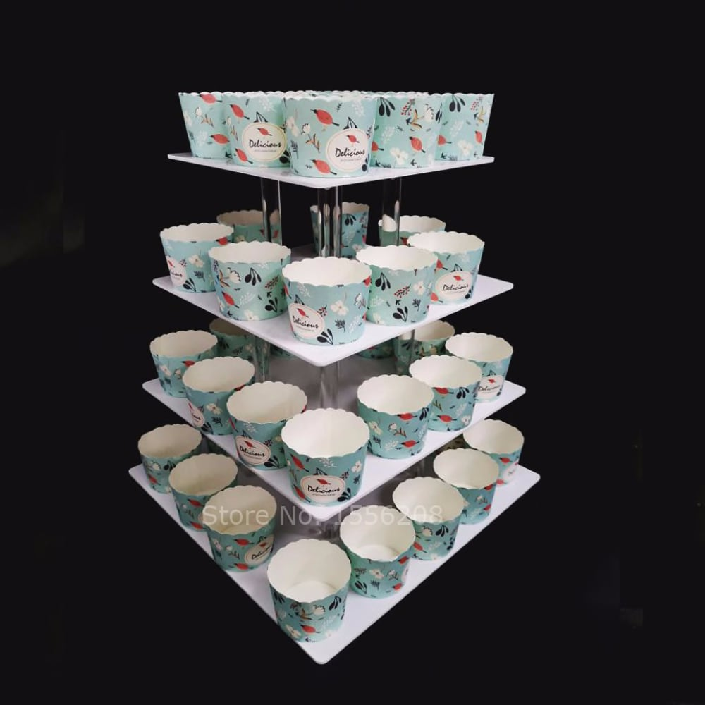 4 Tier Square Acrylic Cupcake Tower Stand Cake Rack Dessert Display Cupcake Holder Pastry Serving Platter Wedding Party Supply
