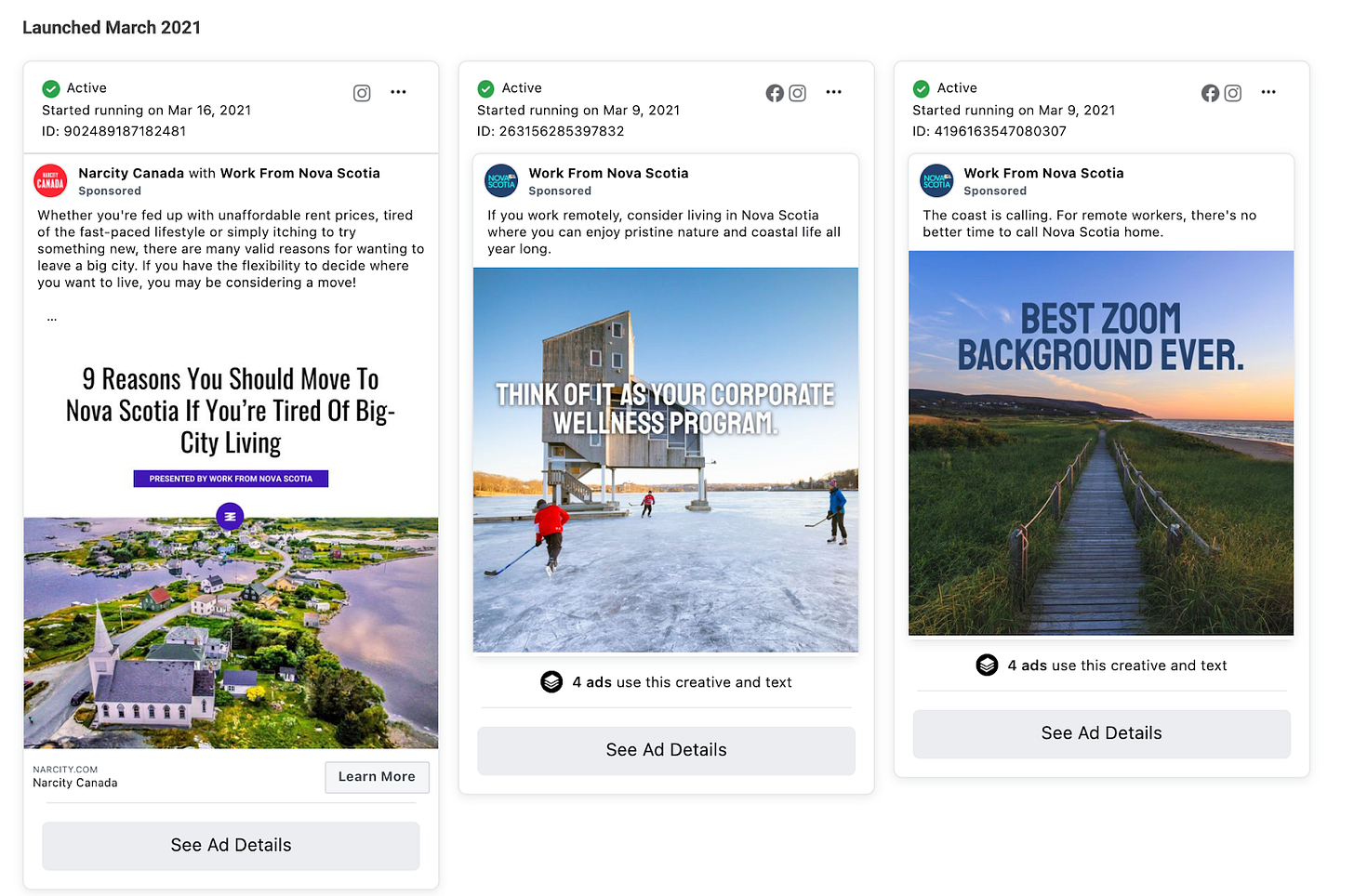 Screenshot of facebook ads that work from nova scotia has put out