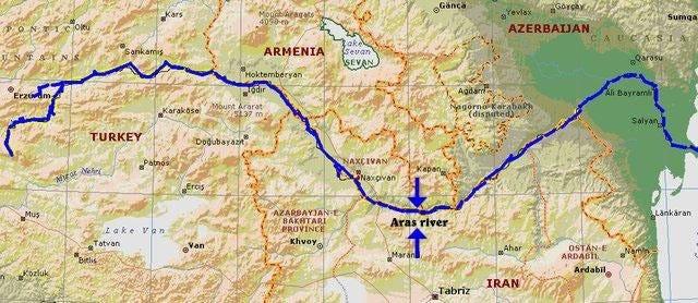 Map of the Aras River Border (Heidari, 2011: 430) | Download Scientific  Diagram