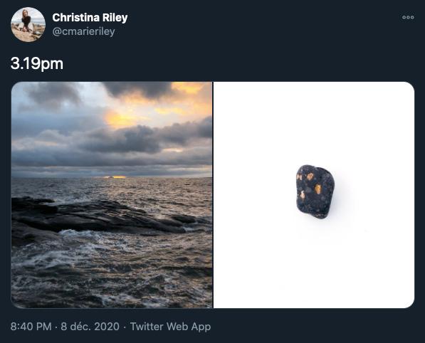 une photo de l'océan avec des vagues sombres sous un ciel gris bleuté et doré, à droite une photo d'un caillou irrégulier gris foncé avec des taches grises et dorées sur un fond blanc