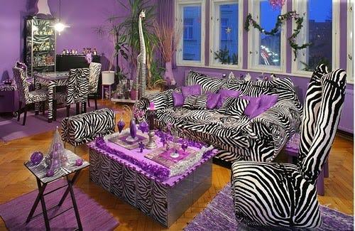 tasteless zebra print living room