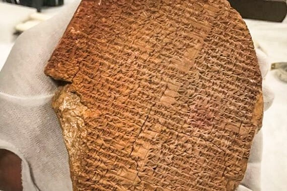 The Gilgamesh Tablet, which features inscriptions in Sumerian, is considered one of the world's oldest religious texts [File: US Immigration and Customs Enforcement-ICE via AP]