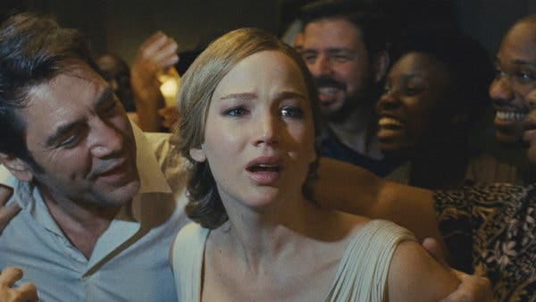 """Jennifer Lawrence, right, with Javier Bardem in """"Mother!"""""""