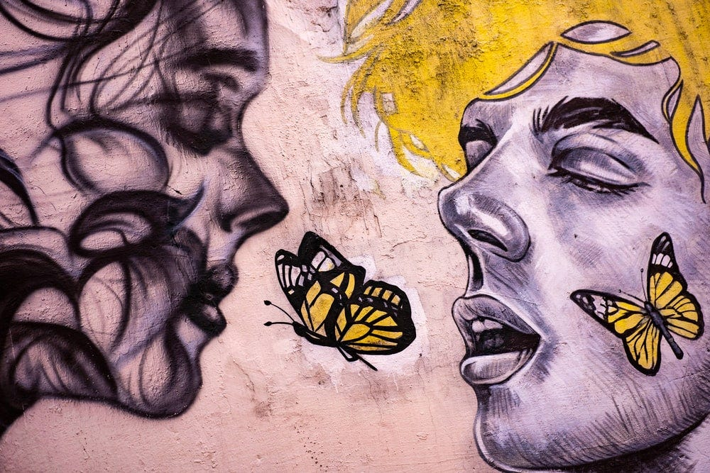 yellow black and white butterfly painting