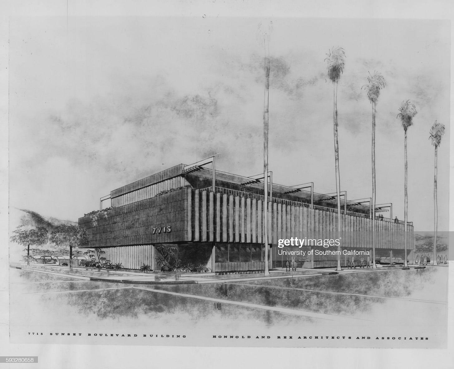Motion picture cameramen & film editors unions building, 7715 Sunset Blvd., Los Angeles, 1959 : News Photo