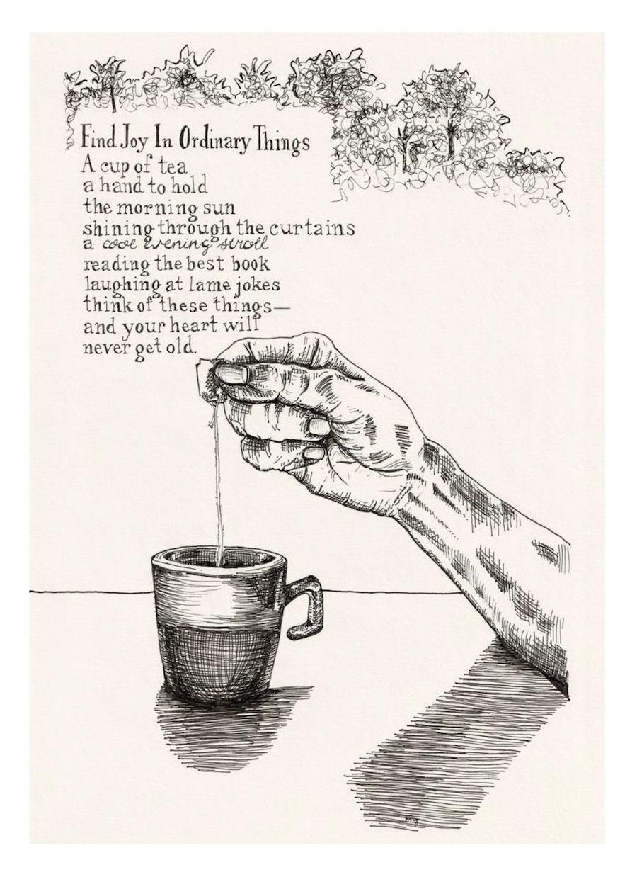 Illustrated poem fine art, Finding Joy In Ordinary Things poem by Melinda Yeoh