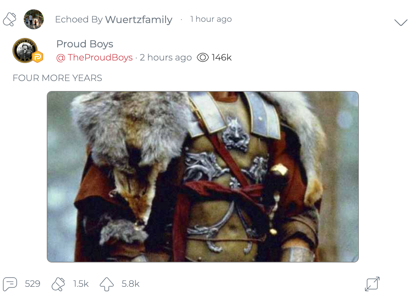 @WuertzFamily shares a Donald Trump meme posted by the official Proud Boys account on Parler. You can see the full meme on Imgur. (Image: Parler screenshot.)