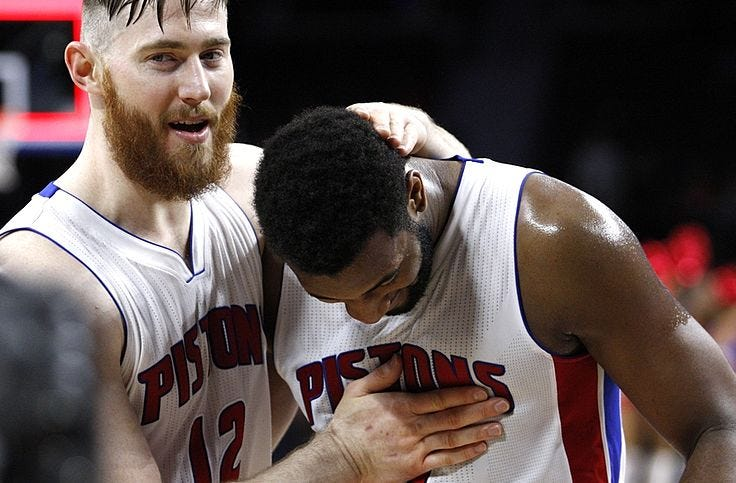 Image result for andre drummond and aron baynes pistons