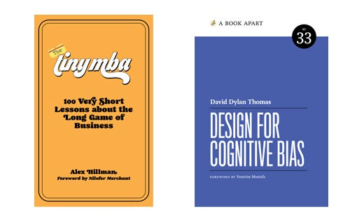 Tiny MBA and Design for Cognitive Bias Book Covers Hero Image