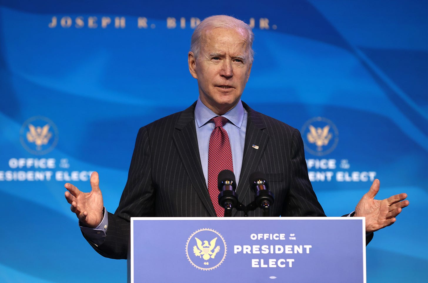 President-elect Joe Biden speaks in Wilmington, Delaware, on Jan. 8.