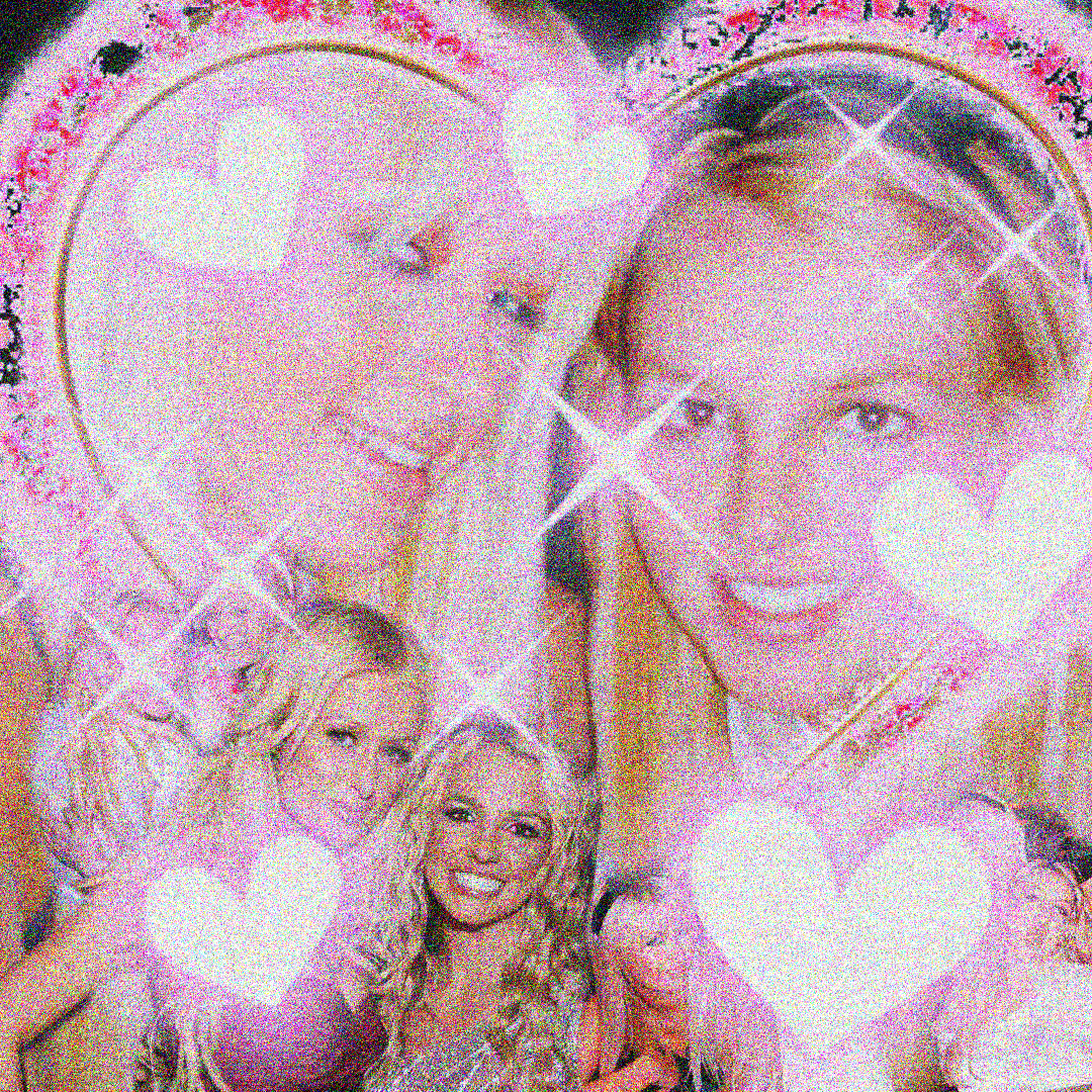 collage of Britney and Paris posing for photos and smiling with hearts decorating it
