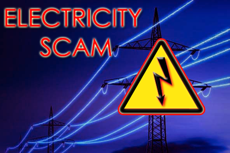 Image may contain: night, text that says 'ELECTRICITY SCAM'