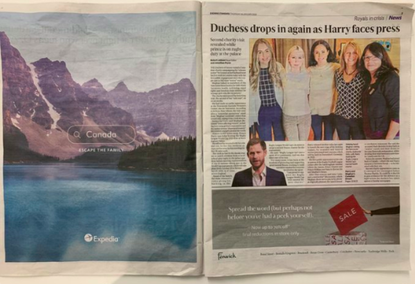 Expedia ad appeared in newspapers alongside editorial articles  - @adliterate