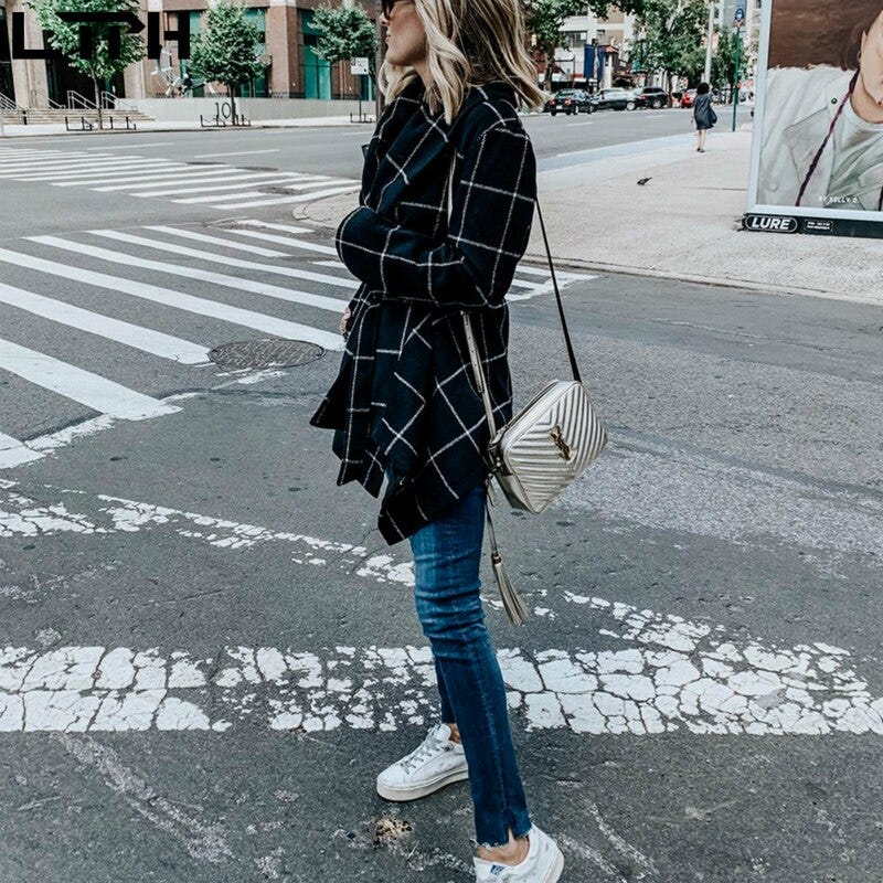 693286261 Hot Sale 2019 Autumn Winter Fashion New Wool Coat Women Plaid Full Sleeve Lapel Waist Lacing Slim Casual Mid Length Coats Women S Clothing Coats Jackets