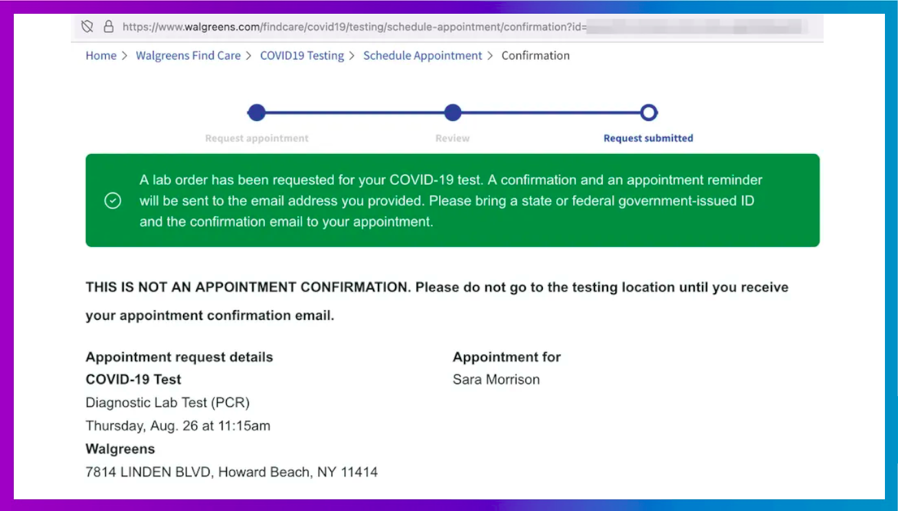 Walgreens Covid-19 test appointment page with sensitive ID blurred.
