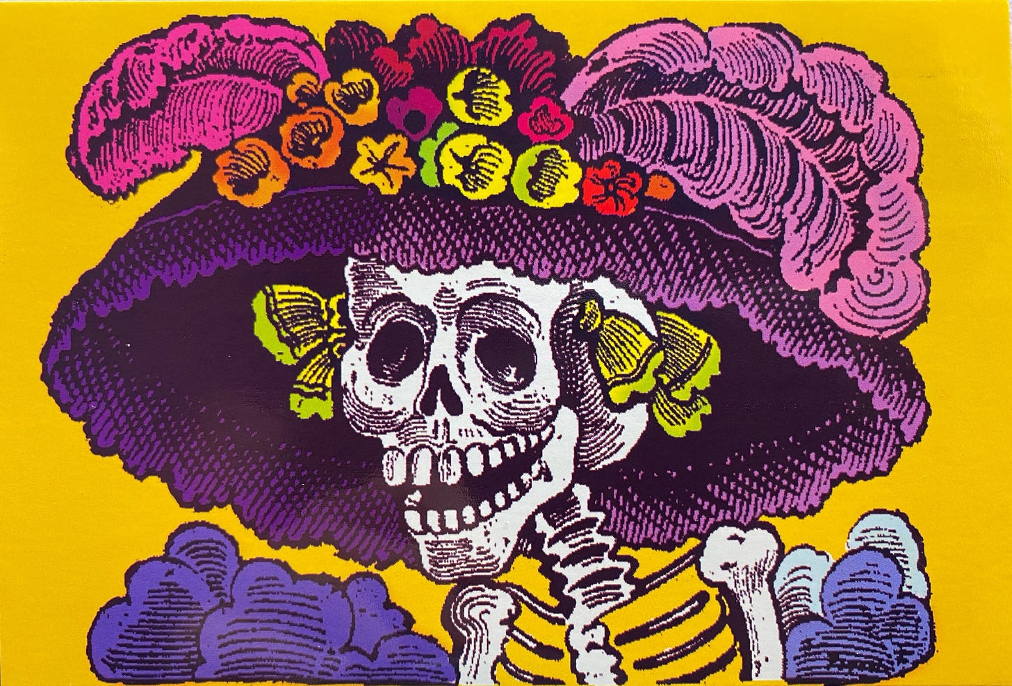Portrait of a skeleton wearing a wide hat with plumage and flowers on top.
