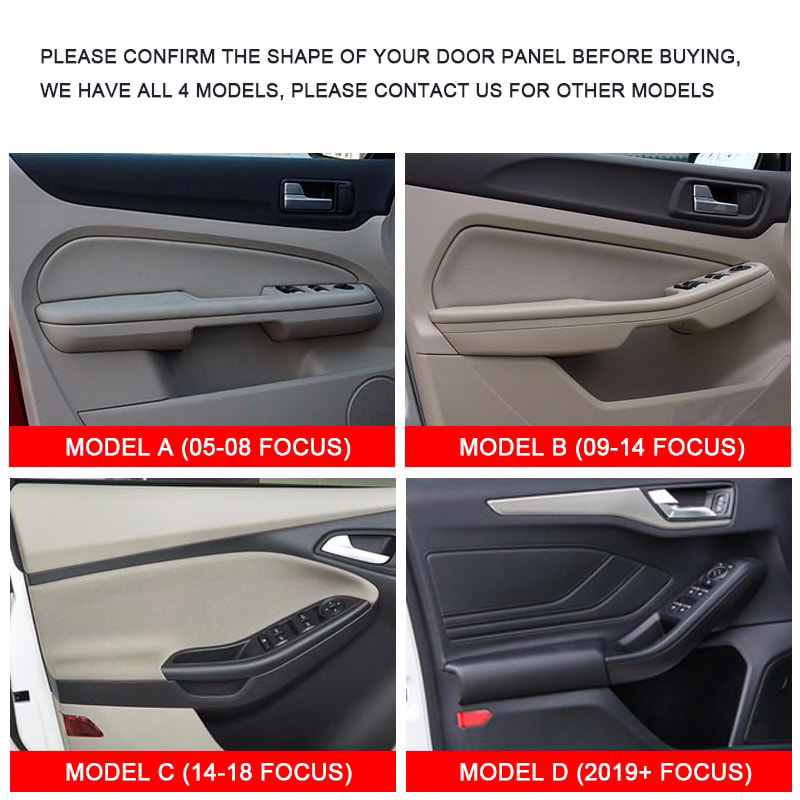 Microfiber Leather Interior Car Styling Door Handle Armrest Panel Covers Trim For Ford Focus 2014 2015 2016 2017 2018