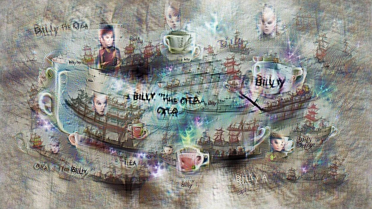 Classic sailing ships are interspersed with mugs of tea and pale young faces. Billy O Tea is written in fragmented form here and there.