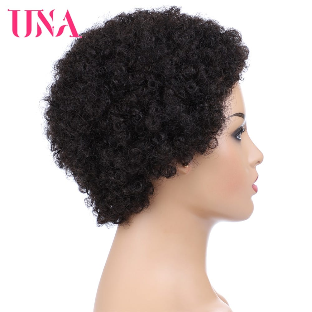 159293290 Una Short Human Hair Wigs Non Remy Human Hair Wigs 120 Density Peruvian Curl Human Hair Afro Wigs For Full Machine Made Wigs Hair Extensions Wigs Human Wigs For Black