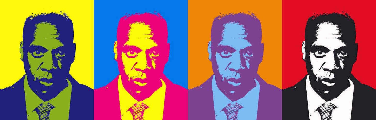 Four images of Jay Z pop art.