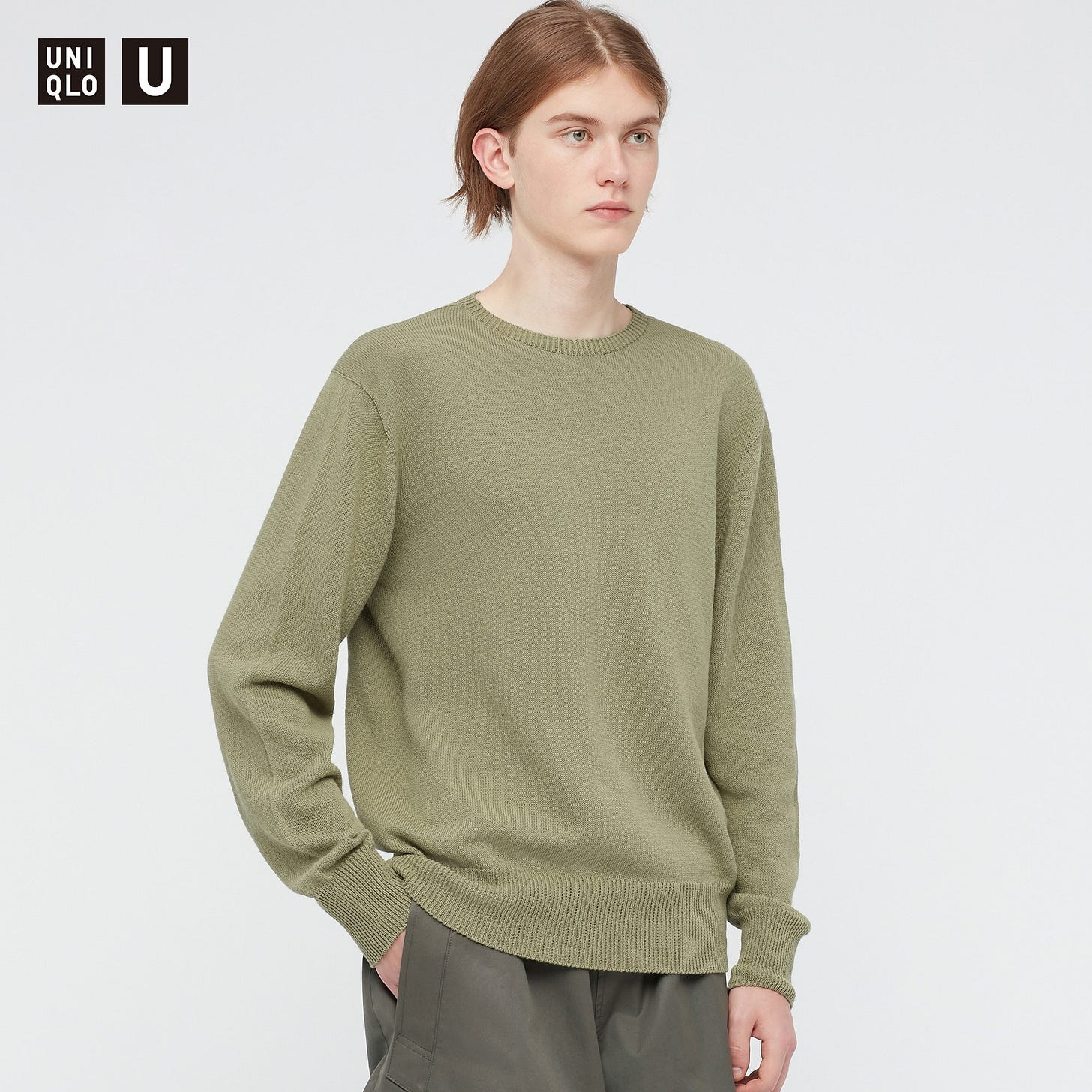 3D Crew Neck Long-Sleeve Sweater