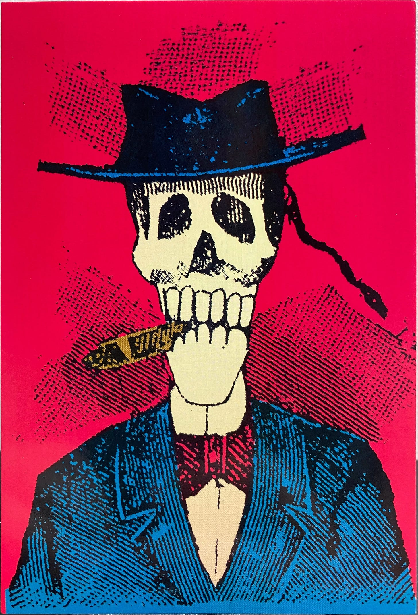 A skeleton as seen in a portrait, wearing a hat, an elegant jacket and a bowtie. It has a somber and sad look, with a cigar between their teeth.