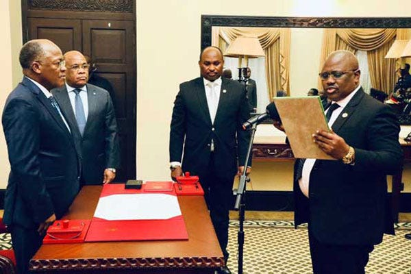 Tanzania's head of intelligence service Diwani Athuman Msuya swears in