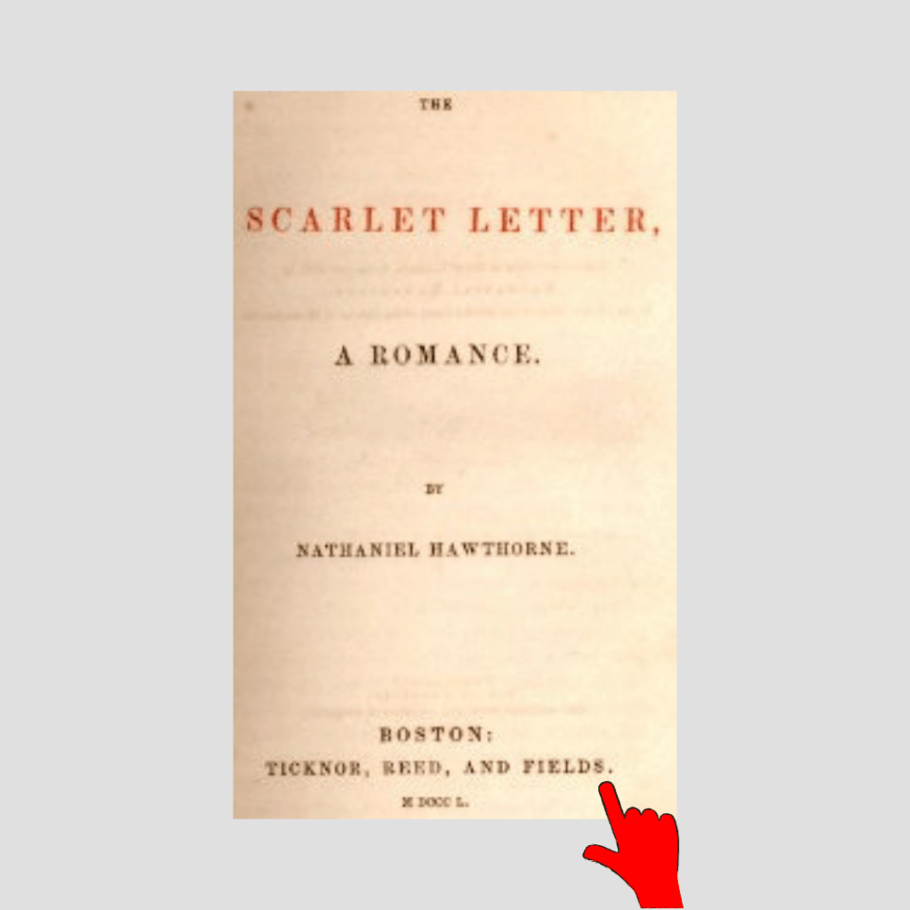 Title page of The Scarlet Letter with a finger pointing to the last name of James T. Fields.