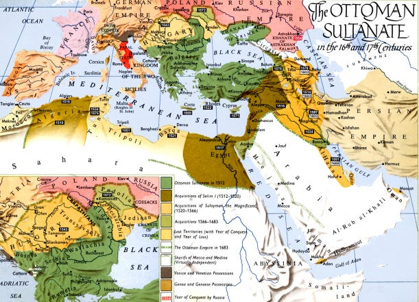 Map - Ottomans in 16th & 17th Centuries