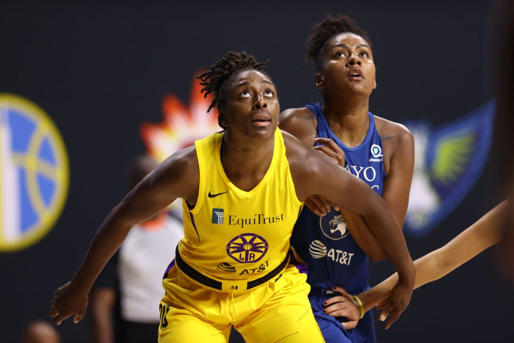 PALMETTO, FL- AUGUST 9: Nneka Ogwumike #30 of the Los Angeles Sparks plays defense against the Minnesota Lynx on August 9, 2020 at Feld Entertainment Center in Palmetto, Florida.WNBA Content Network.