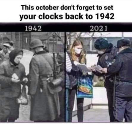 May be an image of 1 person and text that says 'This october don't forget to set your clocks back to 1942 1942 2021'