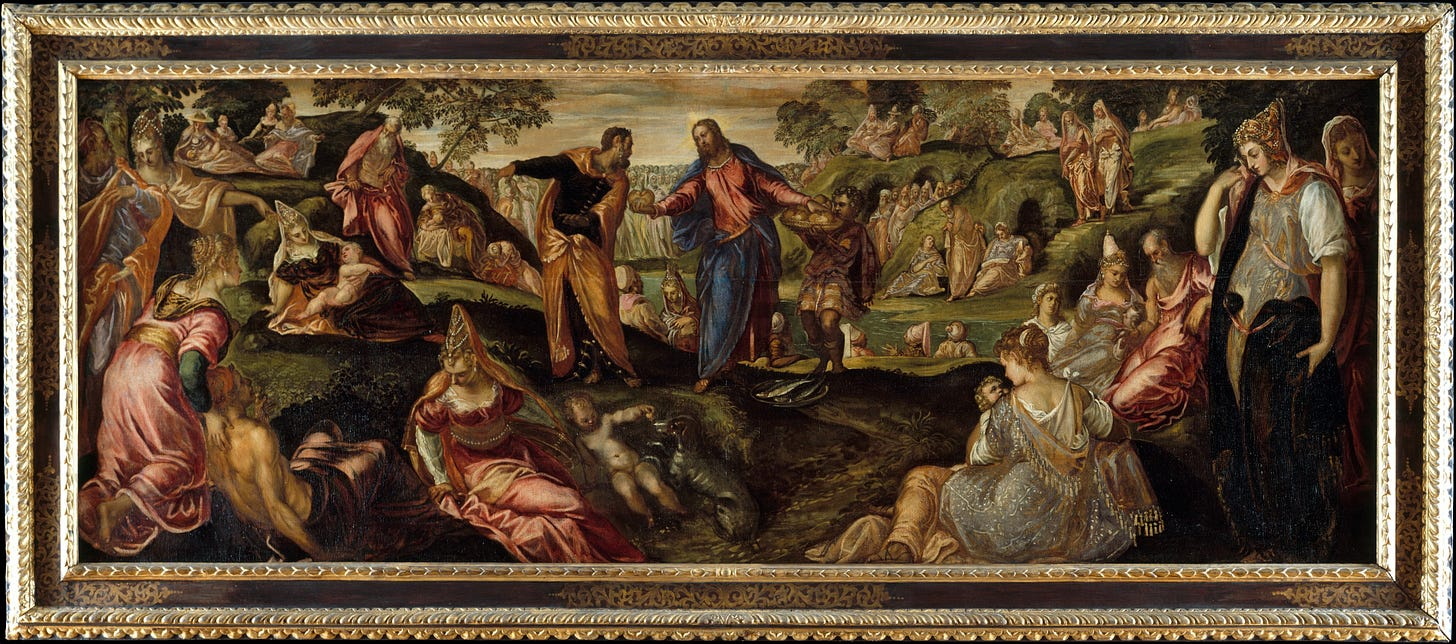 Image result for loaves and fishes art tintoretto