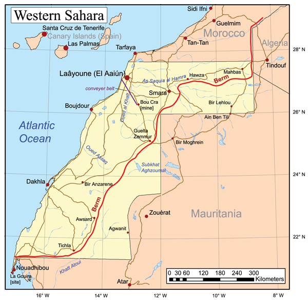 Map of the Western Sahara