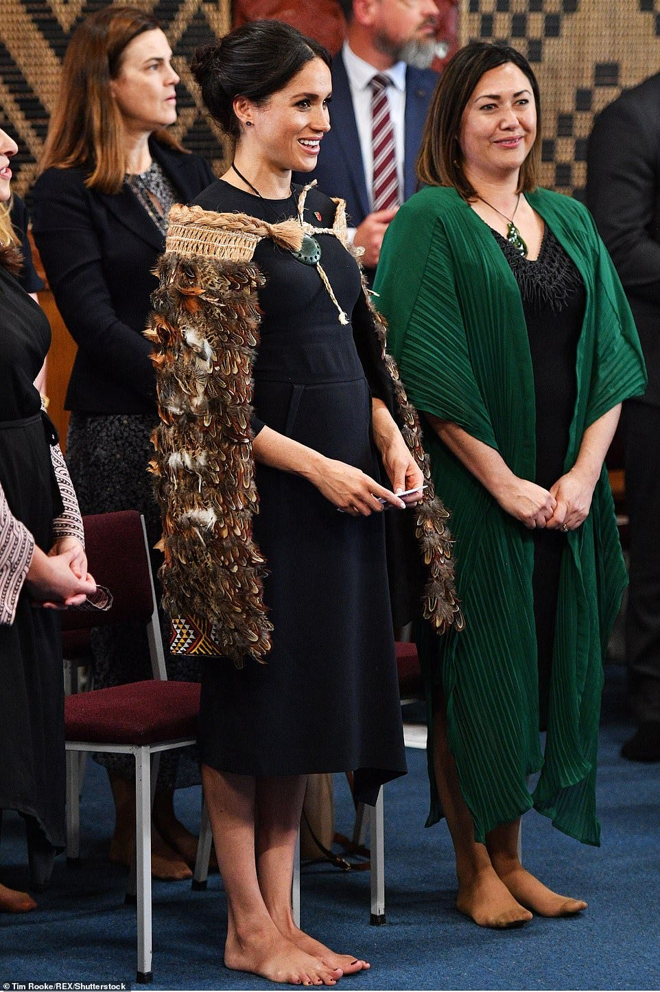 According to the cameraman, Meghan would bring a large entourage with her on set and laid down a strict set of rules – including not to shoot her feet.The 38-year-old's feet became a hot topic of conversation after she took off her shoes during a royal tour in New Zealand in 2018, (pictured) revealing what some thought was a scar from a bunion-removal operation