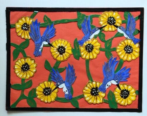 ORIGINAL-INMATE-PRISON-ART-MIXED-MEDIA-COLLAGE-HUMMINGBIRDS-FLOWERS-9-25-034-x12-25-034